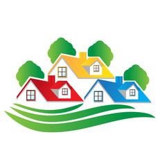 Logo houses and trees real estate image