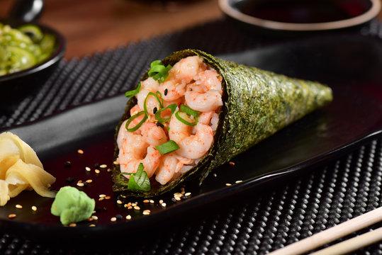 Shrimp Temaki Sushi