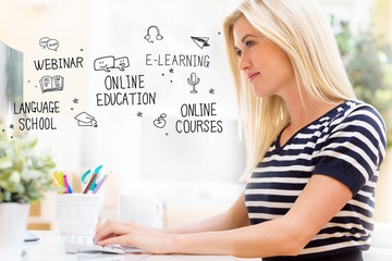 Online Education with happy young woman sitting at her desk in front of the computer