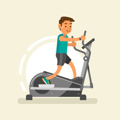 a man doing exercises with elliptical trainer