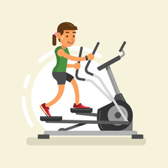 a woman doing exercises with elliptical trainer