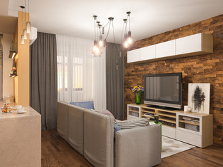 3d illustration living room interior design. Modern studio apartment in the Scandinavian minimalist style. Hygge interior render
