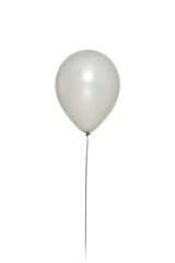 Silver Balloon Floating on white