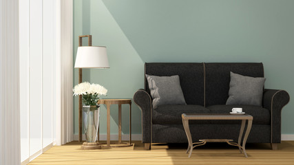 Living room and balcony on sunshine day in hotel or apartment - Interior simple design - 3D Rendering