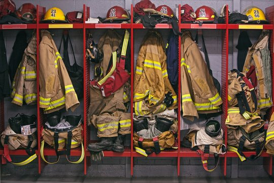 Firefighter gear helmet on a truck