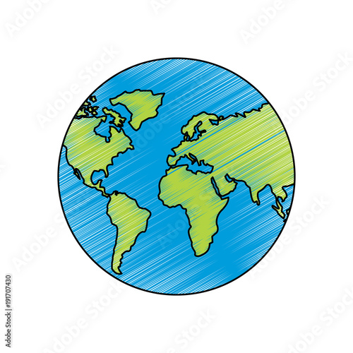 earth planet world globe map icon vector illustration drawing image on
