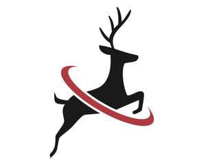 silhouette reindeer deer elk stag image vector icon logo