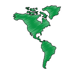 north and south america map continent vector illustration drawing green image