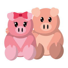 colorful pig couple cute animal together