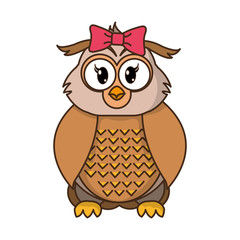 female owl cute animal with ribbon bow
