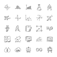 Doodle Icons Set Of Mathematics Theme
