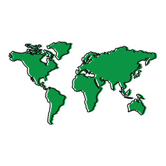map of the world with countries continent vector illustration  green design image