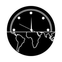 earth globe clock time ecology concept vector illustration pictogram design