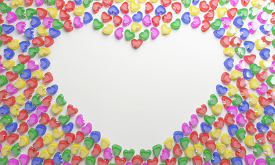 colorful love candy shaping a heart