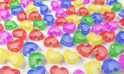 colorful love candy close up