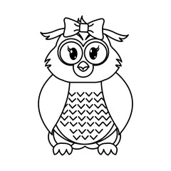 line female owl cute animal with ribbon bow