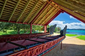 Traditional Maori War Canoe in Waitangi