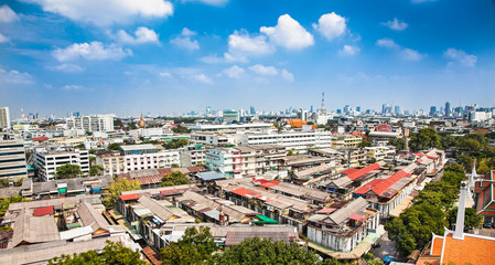 Panoramic view at buildings of Bangkok and part of Wat Saket in Bangkok. Thailand.