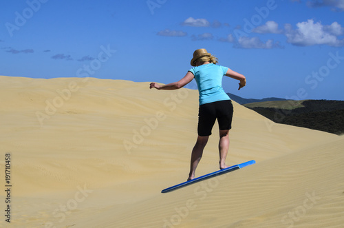Surfing On Sand Dunes At Cape Reinga New Zealand Stock