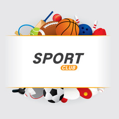 Vector sport ball and equipment  background.