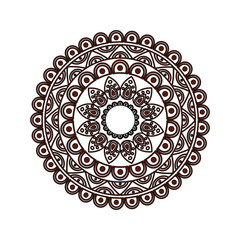 ornamental round floral vintage element mandala ethnic vector illustration