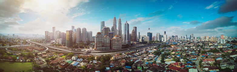 Fotomurales - Panorama cityscape view in the middle of Kuala Lumpur city center , early morning with little mist , Malaysia .