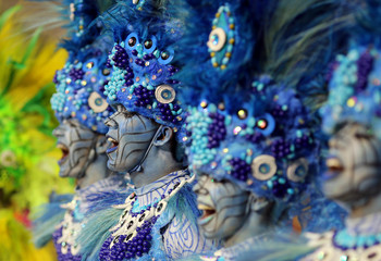 Revellers from the Peruche Samba School take part in a carnival at Anhembi Sambadrome in Sao Paulo