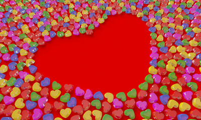 colorful love candy shaping a heart with red background