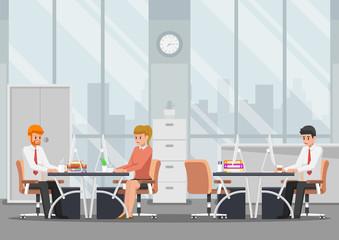 Businessman working in modern office.