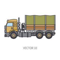 Color flat vector icon construction machinery truck wagon. Industrial style. Corporate cargo delivery. Commercial transportation. Building. Business. Engineering. Diesel power. Illustration for design