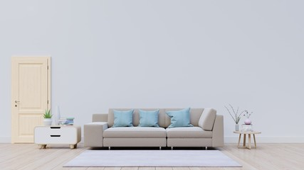 Living room with sofa and Decoration have back white wall,3D rendering