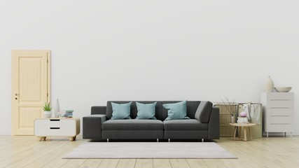 Living room with black sofa and Decoration have back white wall ,3D rendering