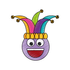 happy emoticon smile jester hat funny vector illustration color drawing design