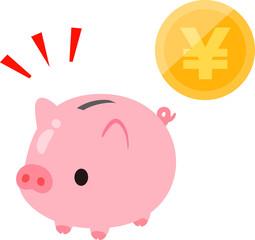 ブタの貯金箱とお金のイメージ