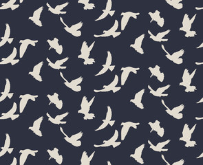 pattern with a silhouette of flying birds