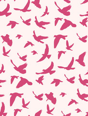 seamless background with a pattern of silhouette flying birds, pink