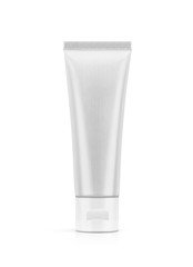 blank packaging aluminum toothpaste tube isolated on white background
