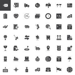 Logistics and delivery vector icons set, modern solid symbol collection, filled style pictogram pack. Signs, logo illustration. Set includes icons as cardboard, package, parcel, fragile, cargo