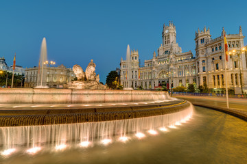 The Plaza de Cibeles with the Palace of Communication and the Cibeles Fountain in Madrid at night
