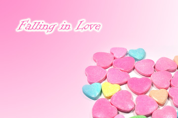 Abstract love candy with text Falling in love