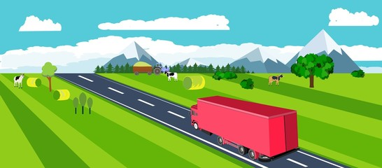Truck driving along the highway, view from above, isometric vector illustration, horizontal flat, countryside