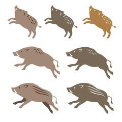 猪のイラスト 年賀状素材 干支動物