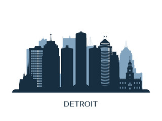 Detroit skyline, monochrome silhouette. Vector illustration.