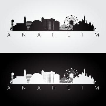 Anaheim usa skyline and landmarks silhouette, black and white design, vector illustration.