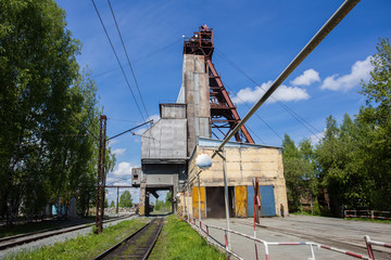 Underground iron ore mine shaft headframe