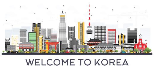 South Korea City Skyline with Color Buildings.