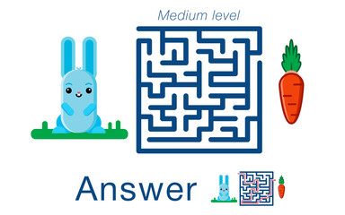 Children's labyrinth withr  abbit and carrot. A puzzle for children. Vector maze.