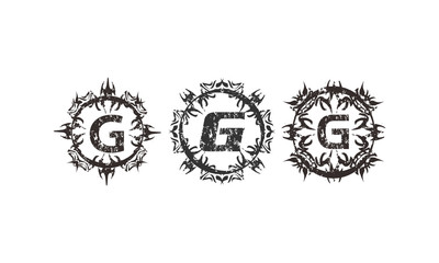 Rough Letter G Template Set