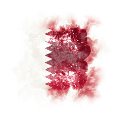 Square grunge flag of qatar