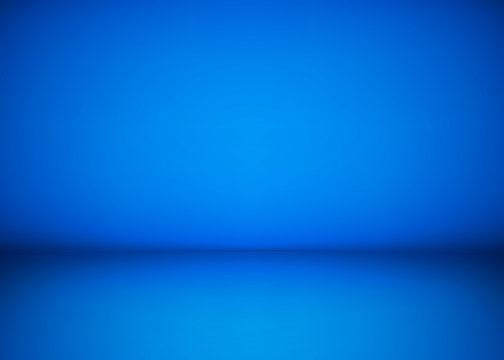 Abstract blue studio workshop background. Template of room interior, floor and wall. Photography workshop space. Vector illustration